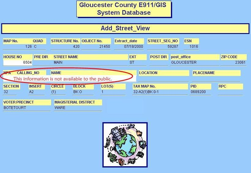 Gloucester Couny E911  GIS System Database with lines filled in