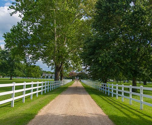 A long gravel road with white fence and trees next to it